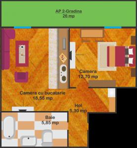 Ap.2 - Suprafață utilă: 42,4 mp + 26 mp gradină   39.000 euro