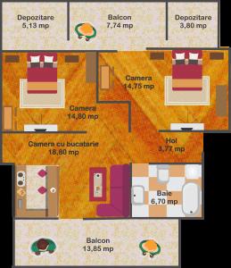 Ap.7 - Suprafață utilă: 59 mp + 32 mp terasă       70.000 euro